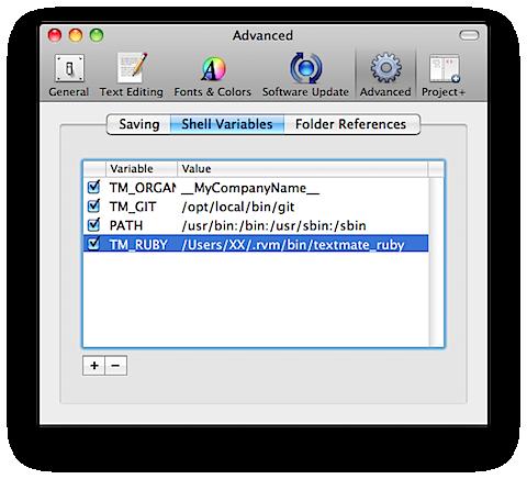 tmruby textmate上でrvmでいれたrubyを動かしたいんです。